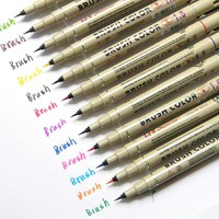 12colors 1.5 Soft Brush Fine Point Pen for Cartoon Drawing Needle Liner Art Markers Pen supplies