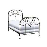Twin Size Metal Bed Frame with Headboard & Footboard in Rusty Gold Finish