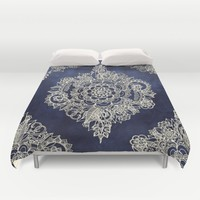 Cream Floral Moroccan Pattern on Deep Indigo Ink Duvet Cover by Micklyn | Society6