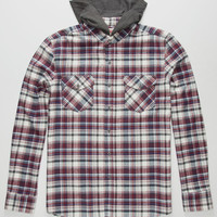 Micros Shriner Mens Hooded Flannel Shirt Burgundy  In Sizes