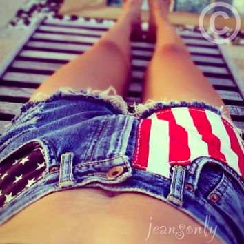 Vintage high waisted American flag,high waisted jean shorts by Jeansonly