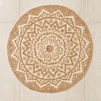 Plum & Bow Kolam Braided Jute Round Rug- White One