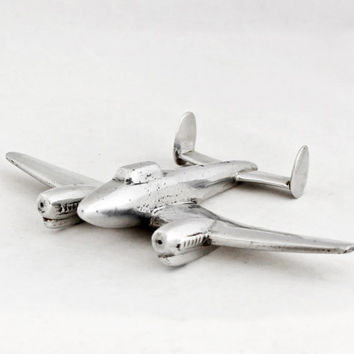 1930s Vintage Art Deco Airplane Airplane Metal Industrial Home Decor