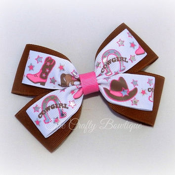 Cowgirl Hair Bow ~ Large Cowgirl Bow ~ Pink & Brown Bow ~ Layered Cowgirl Bow ~ Western Hair Bow ~ Horse Hair Bow ~ Cowgirl Headband Bow