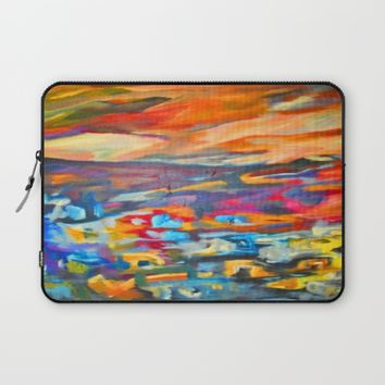 My Village | Colorful Small Mountainy Village Laptop Sleeve by Azima