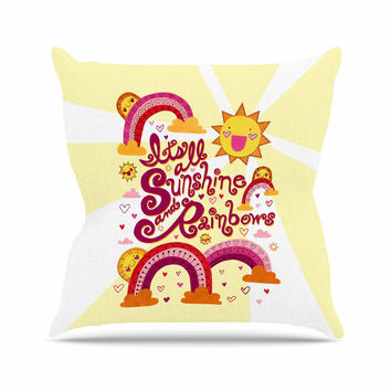"Jane Smith ""It's All Sunshine & Rainbows"" Yellow Kids Outdoor Throw Pillow"