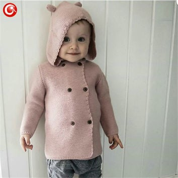 2016 Autumn Winter Kids Girls Hooded Cardigan Double Breasted Cotton Sweater For Children Boy Baby Girl Soft Knit Jumper Clothes