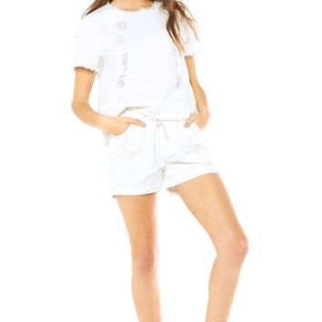 Denim Trash Short - White