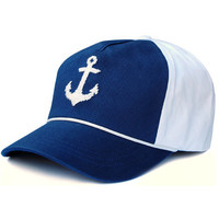 Needlepoint Anchor Rope Snapback Hat in Navy and White by Smathers & Branson