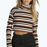 Ellie Turtle Neck Stripe Rib Knit Jumper