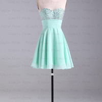 A-line Sweetheart Above the knee Sleeveless Mint Chiffon Short Prom Dress Bridesmaid Dress Evening Dress Party Dress 2013 With Beading