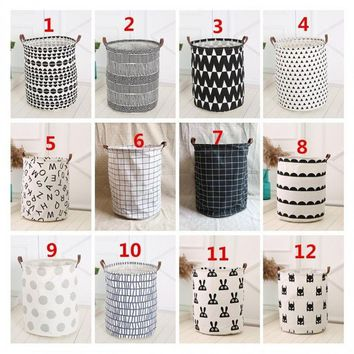 Creative Nordic Style Baby Kids Toy Clothes Storage Canvas Laundry Basket Organizer Tool
