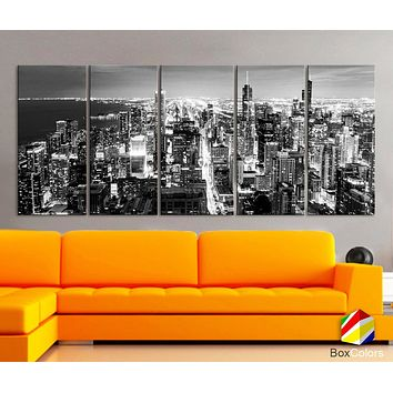 "XLARGE 30""x 70"" 5 Panels Art Canvas Print Chicago Aerial Skyline night Downtown Black & White Wall Home decor interior ( framed 1.5"" depth)"