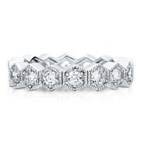 Sterling Silver 925 Cubic Zirconia Stackable Hexagon Eternity Ring #r386