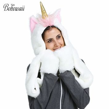 BOHOWAII Christmas Halloween 3D Animal Hoodies Winter Warm Fluffy and Soft Cap Scarf 3 in 1 Adult Unicorn Hat