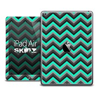 The Black and Trendy Green Chevron Skin for the iPad Air