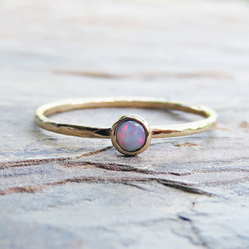 3mm Tiny Natural Opal Ring in Solid 14k Gold - Coober Pedy Australian Opal Stacking Ring in Smooth or Hammered Band - October Birthstone