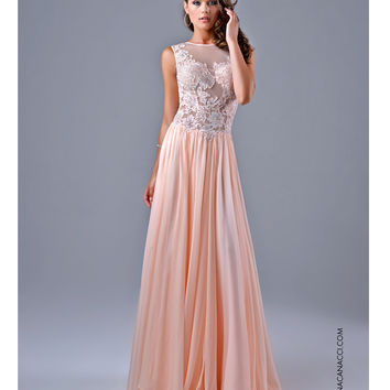 Nina Canacci 7111 Sheer Illusion Peach Lace Dress Prom 2015