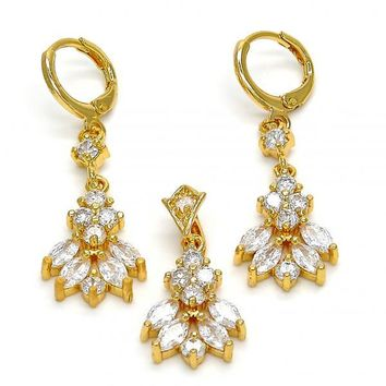 Gold Layered Earring and Pendant Adult Set, Leaf Design, with Cubic Zirconia, Golden Tone