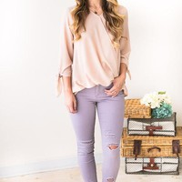 Distressed Mood Mid Rise Lilac Jeans