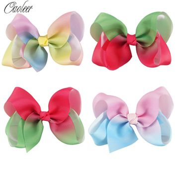 "8pcs/lot 4"" Rainbow grosgrain Ribbon Hair Bow Boutique Rainbow Hairpin With Alligator Clip For Teens Kids Child Hair Accessories"