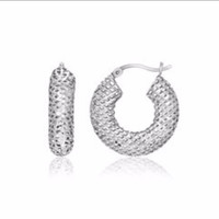 Mesh Texture Oval Hoop Earrings in Sterling Silver