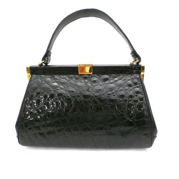 Vintage Kelly Style Bag Real Leather Black Alligator/Croc Finish Mayer 1950s Mint
