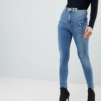 ASOS RIDLEY High Waist Skinny Jeans With Deconstructed Styling In Bennu Vintage Mid Wash at asos.com