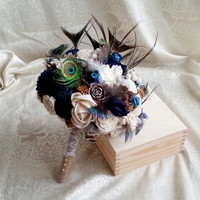 Bridal cream brown dark blue turquoise rustic wedding real PEACOCK feathers BOUQUET Flowers, Burlap Handle cotton lace pine cones cedar rose