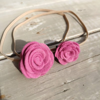 Mommy and Me felt flower headband set, Big Sister/ Little Sister Felt Headbands, baby headband set, Pink felt flower headband