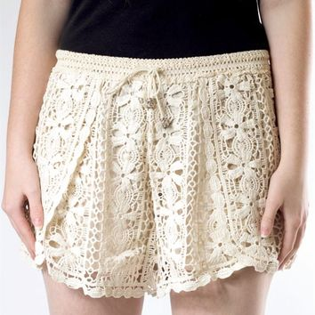 Crochet Drawstring Shorts