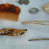 Lot of Hair Jewelry 10 Pieces Barrettes Pins Combs Vintage Jewelry