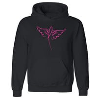 Zexpa Apparel™ Angel Wings Pink Ribbon Unisex Hoodie Breast Cancer Awareness Hooded Sweatshirt