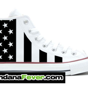 "Converse Hi White ""Black & White American Flag"" + FREE SHIPPING - by Bandana Fever"