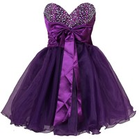 Faironly Purple Mini Short Homecoming Dress
