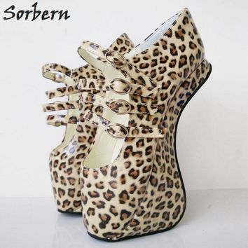 Sorbern Custom Leopard Novelty Extrem High Heels Heelless Ballet Pump Shoes Sexy Fetish Ladies Shoes With Heels Size 43
