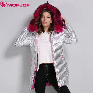 Winter Jacket Women silver fabric whit Rose-carmine Faux fur Hooded thick Outerwear Bright metallic color warm parkas mofjof