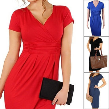 Maternity Women's Dress Tunic Short Sleeve V-Neck Stretchy Bodycon Pregnant Jersey Dresses Vestidos Plus Size = 1705483716