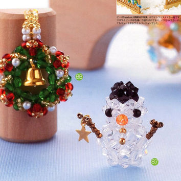 3D Swarovski Beads Christmas Wreath and Snowman Beading Pattern PDF