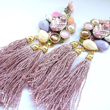 Tassel earrings, Fringe Earrings, Pink tassel earrings, Dusty Pink Earrings, Pink earrings, Pink Purple White, earrings, Multicolor earrings
