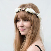 Bridal Flower Crown - Ivory WoodlandRose, Bridal Hair Accessories, Bridal Headband, Floral Crown, Flower Girl Hair Wreath, Weddings, Tiara