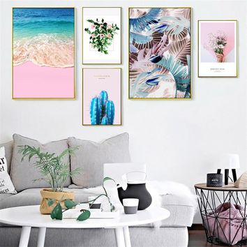 Canvas Painting Pink Flower Feather Nordic Poster Beach Wall Art Print Picture For Living Room Bedroom Home DIY Decor Poster
