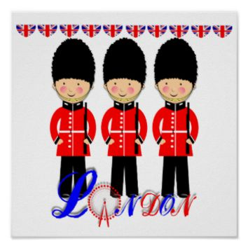 Cute London Guards Themed Picture Poster