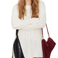 Cable Knit Oversized Sweater With Side Zip Detail