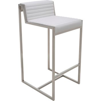 Zola Counter Height Stool White Top Grain Italian Leather