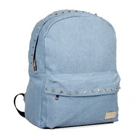 ZLYC Fashion Light Blue Rivet Denim Backpack Oversized School Bag