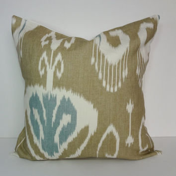 IKAT Designer Pillow Cover, Deocrative Cushion Cover, Tan, Blue, Taupe, Aqua, 20 x 20