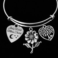 Sunflower Stay Wild Moon Child Adjustable Bracelet Tree of Life Expandable Silver Wire Bangle Gift Daisy