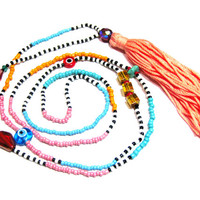 Long Colorful Beaded Tassel Necklace - Beaded Necklace - Hippie Necklace - Hippie Jewelry