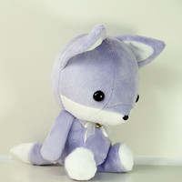 Cute Bellzi Stuffed Animal Purple w/ White Contrast Fox Plushie Doll - Foxxi
